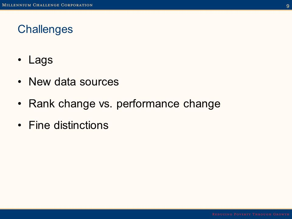 9 Challenges Lags New data sources Rank change vs. performance change Fine distinctions