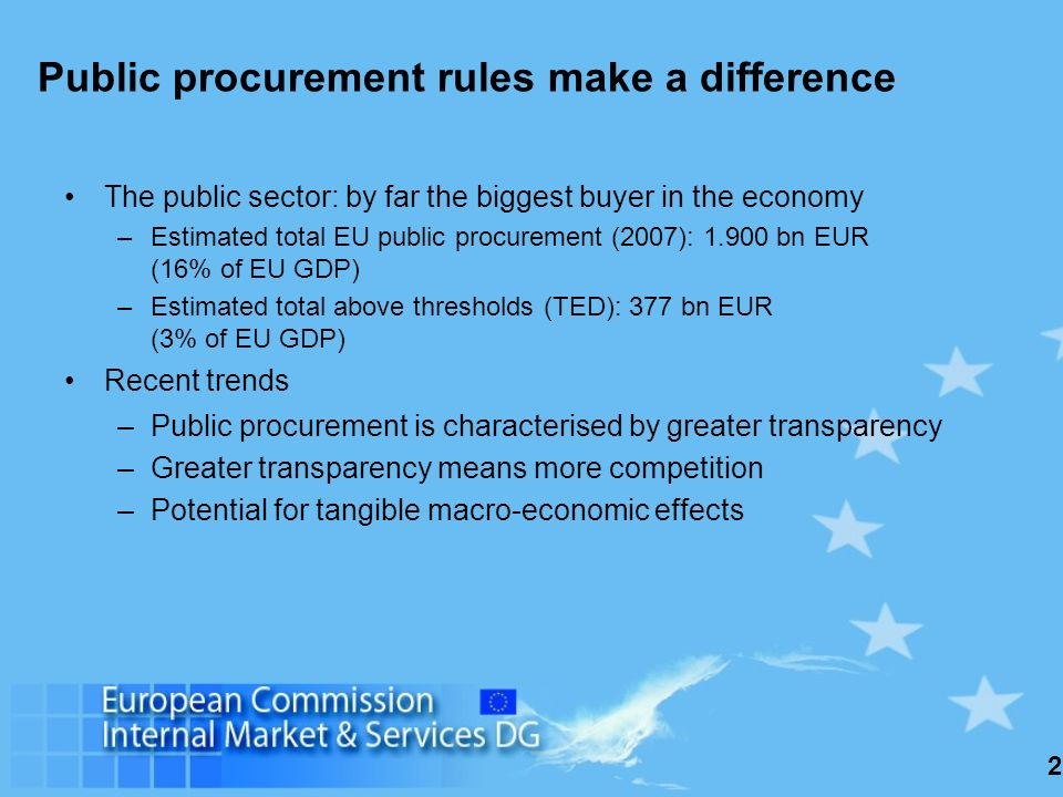 2 Public procurement rules make a difference The public sector: by far the biggest buyer in the economy –Estimated total EU public procurement (2007): 1.900 bn EUR (16% of EU GDP) –Estimated total above thresholds (TED): 377 bn EUR (3% of EU GDP) Recent trends –Public procurement is characterised by greater transparency –Greater transparency means more competition –Potential for tangible macro-economic effects