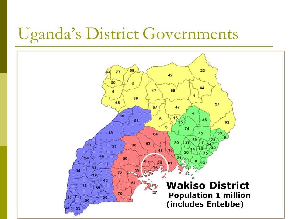 Ugandas District Governments Wakiso District Population 1 million (includes Entebbe)