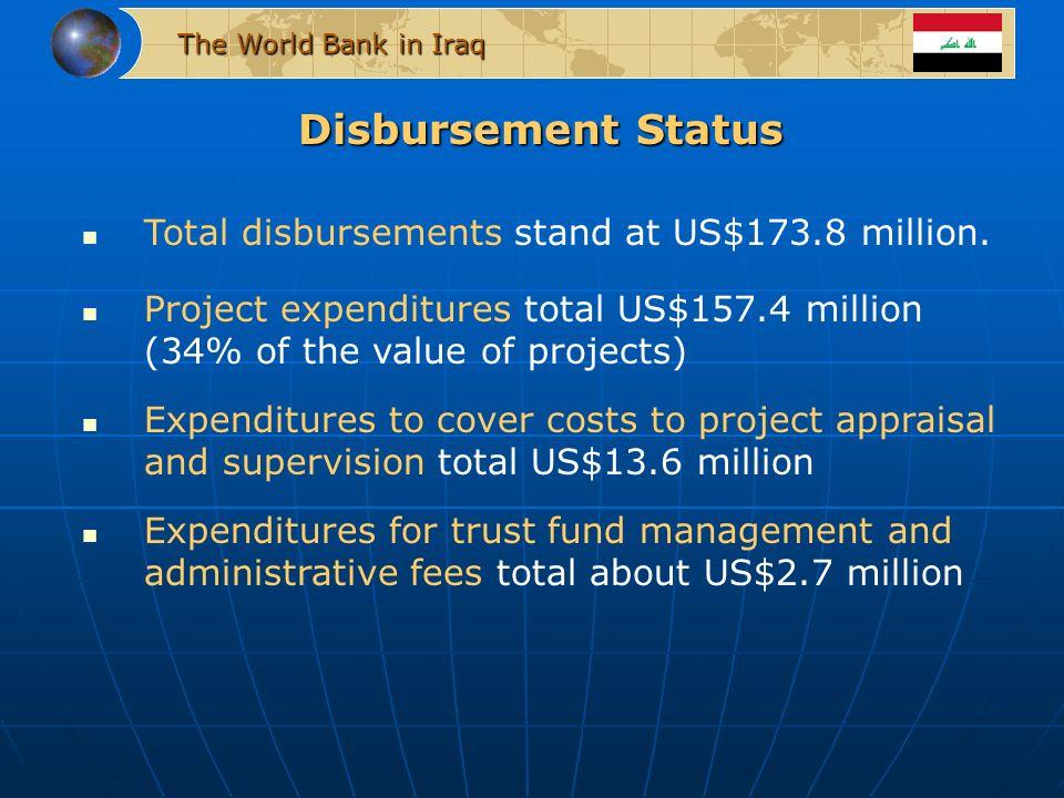 Disbursement Status Total disbursements stand at US$173.8 million.