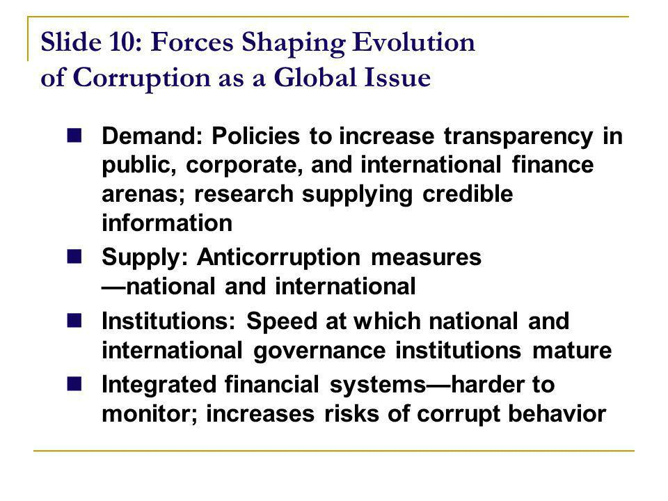 Slide 10: Forces Shaping Evolution of Corruption as a Global Issue Demand: Policies to increase transparency in public, corporate, and international finance arenas; research supplying credible information Supply: Anticorruption measures national and international Institutions: Speed at which national and international governance institutions mature Integrated financial systemsharder to monitor; increases risks of corrupt behavior