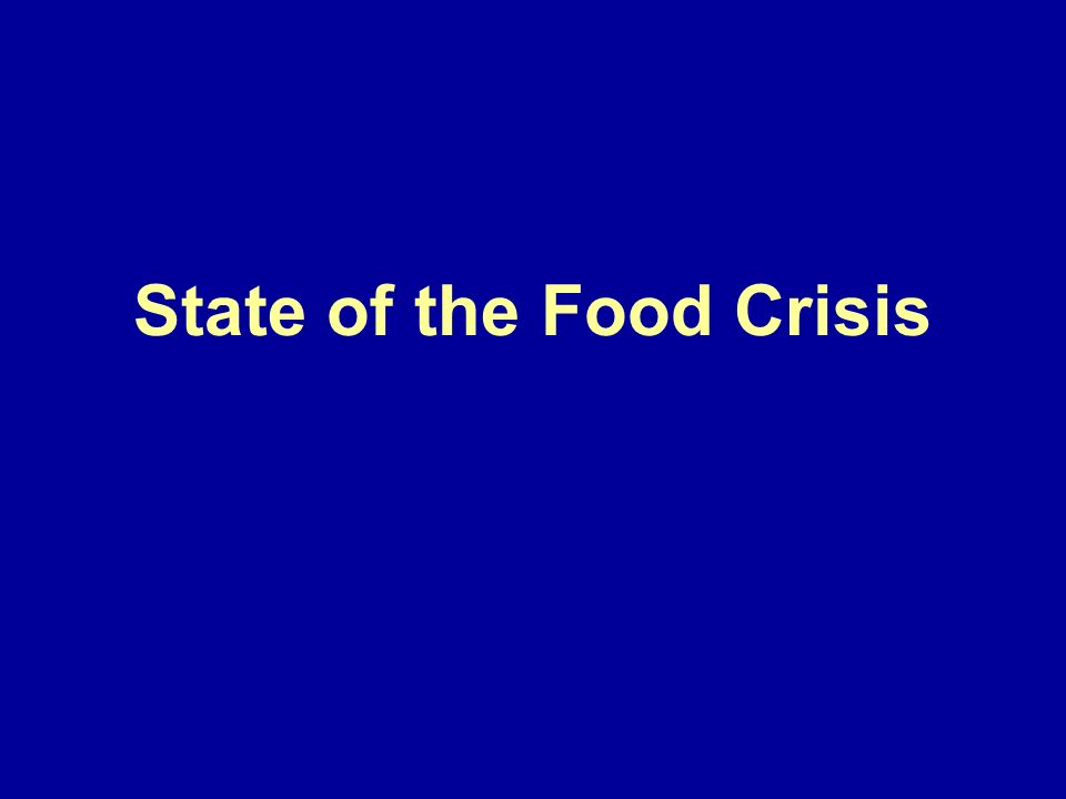 State of the Food Crisis