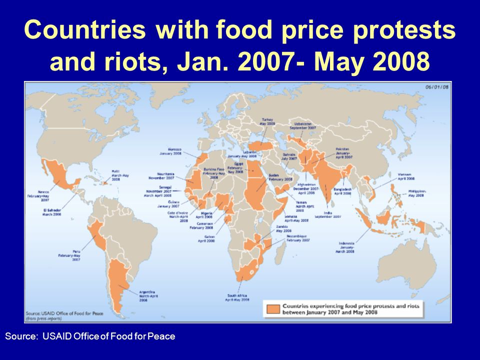 Countries with food price protests and riots, Jan. 2007- May 2008 Source: USAID Office of Food for Peace