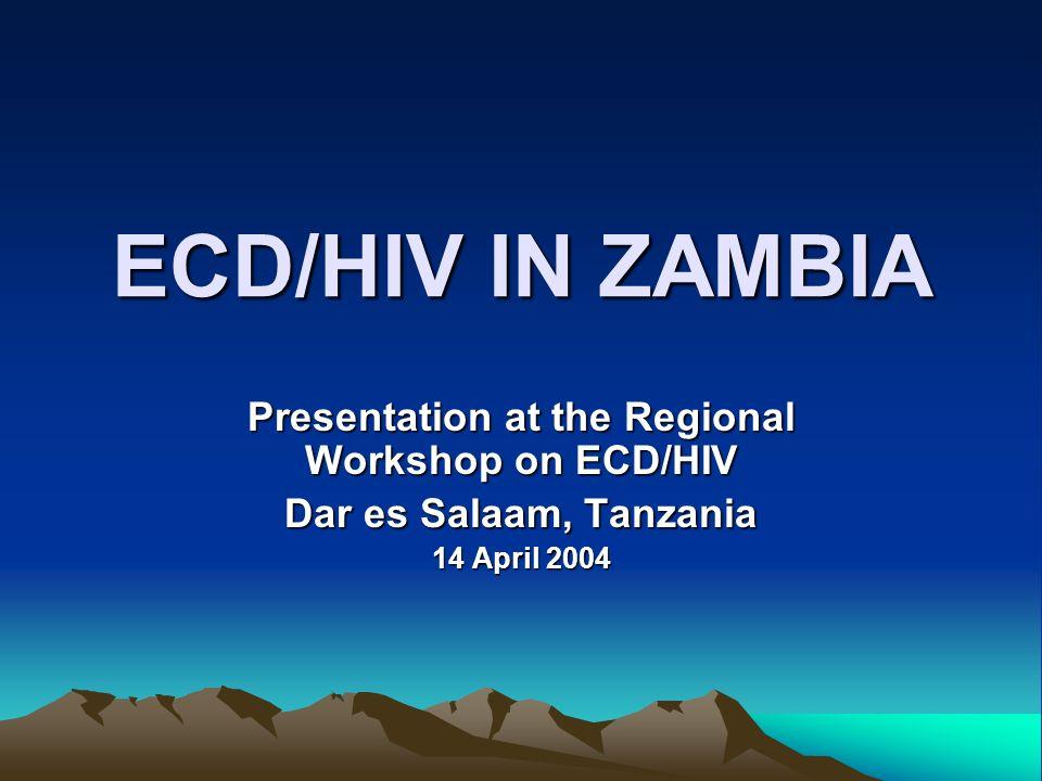 ECD/HIV IN ZAMBIA Presentation at the Regional Workshop on ECD/HIV Dar es Salaam, Tanzania 14 April 2004