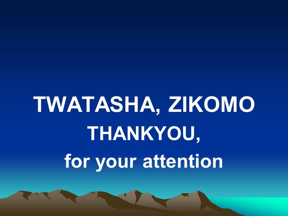 TWATASHA, ZIKOMO THANKYOU, for your attention