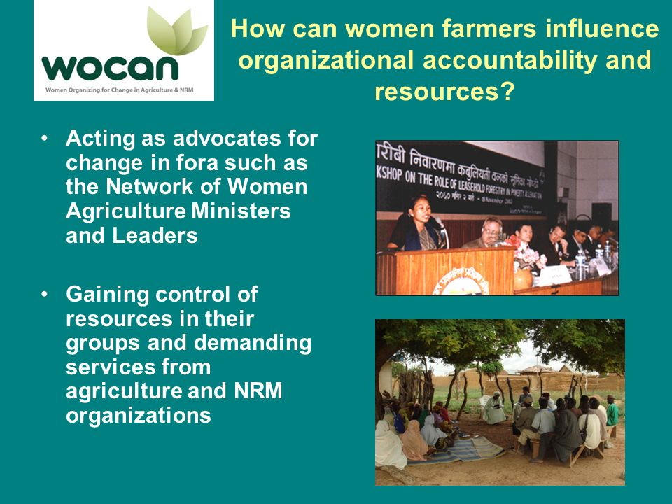 How can women farmers influence organizational accountability and resources.