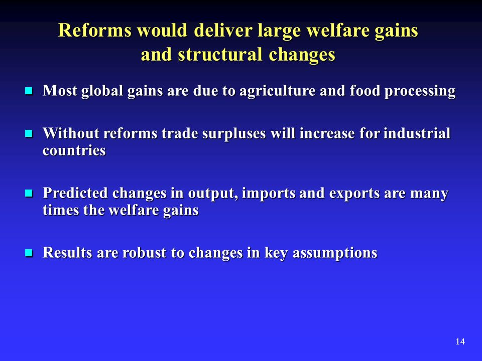 14 Reforms would deliver large welfare gains and structural changes Most global gains are due to agriculture and food processing Most global gains are due to agriculture and food processing Without reforms trade surpluses will increase for industrial countries Without reforms trade surpluses will increase for industrial countries Predicted changes in output, imports and exports are many times the welfare gains Predicted changes in output, imports and exports are many times the welfare gains Results are robust to changes in key assumptions Results are robust to changes in key assumptions