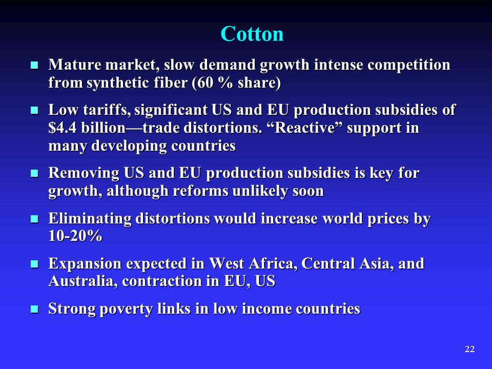 22 Cotton Mature market, slow demand growth intense competition from synthetic fiber (60 % share) Mature market, slow demand growth intense competition from synthetic fiber (60 % share) Low tariffs, significant US and EU production subsidies of $4.4 billiontrade distortions.