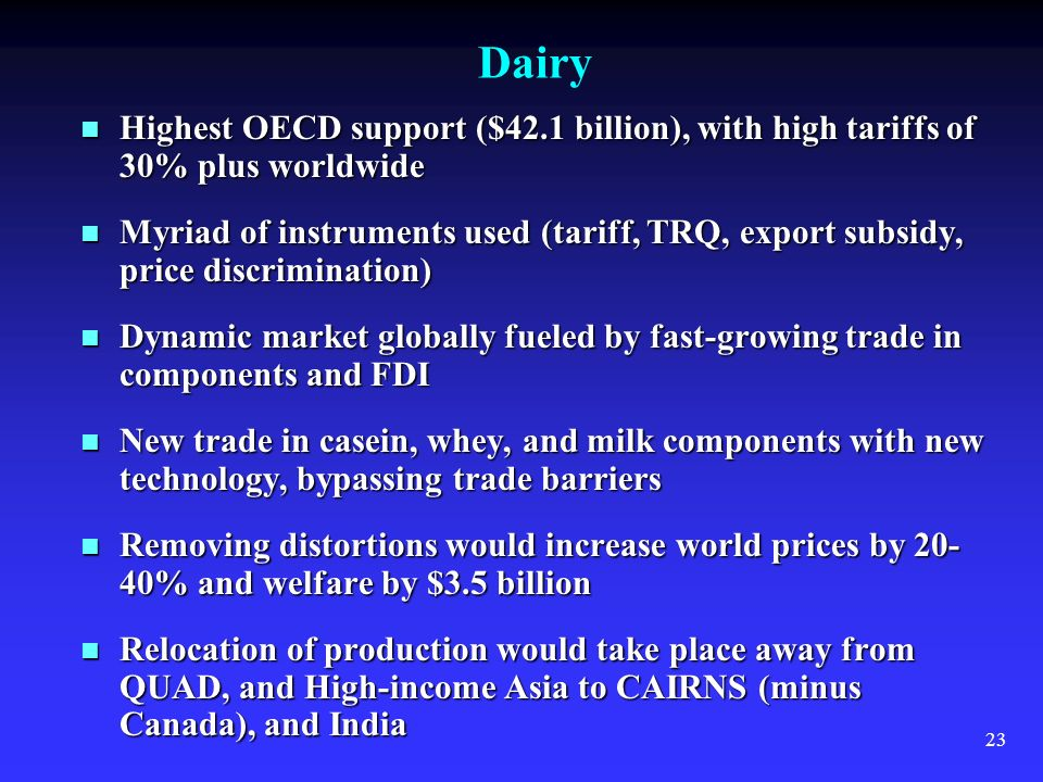23 Dairy Highest OECD support ($42.1 billion), with high tariffs of 30% plus worldwide Highest OECD support ($42.1 billion), with high tariffs of 30%