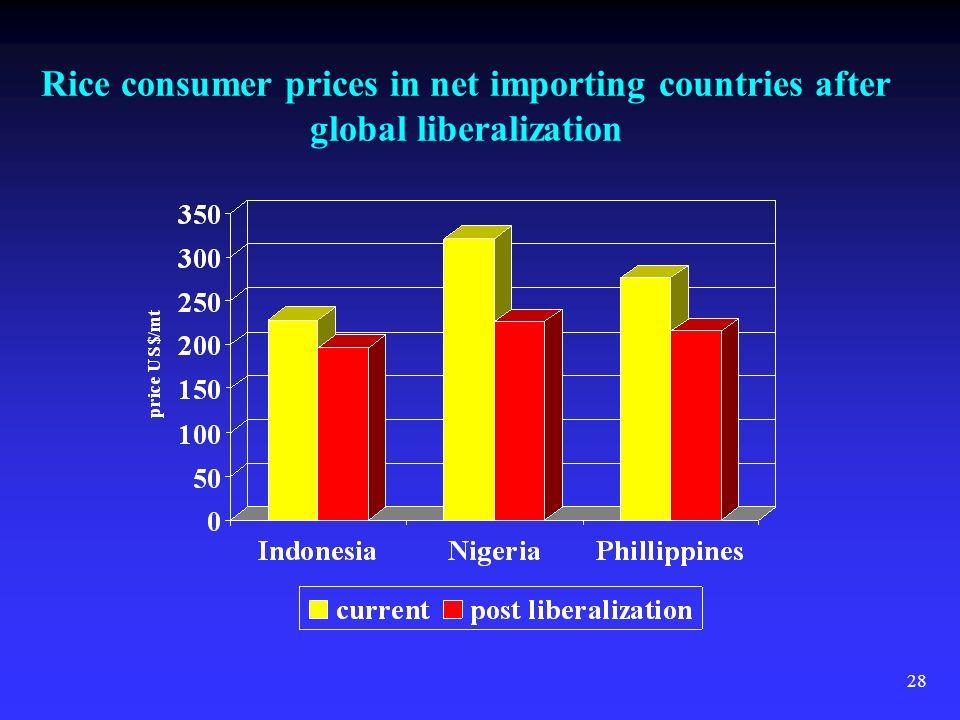 28 Rice consumer prices in net importing countries after global liberalization