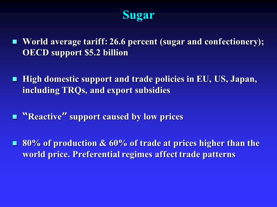 Sugar World average tariff: 26.6 percent (sugar and confectionery); OECD support $5.2 billion World average tariff: 26.6 percent (sugar and confectionery); OECD support $5.2 billion High domestic support and trade policies in EU, US, Japan, including TRQs, and export subsidies High domestic support and trade policies in EU, US, Japan, including TRQs, and export subsidies Reactive support caused by low prices Reactive support caused by low prices 80% of production & 60% of trade at prices higher than the world price.