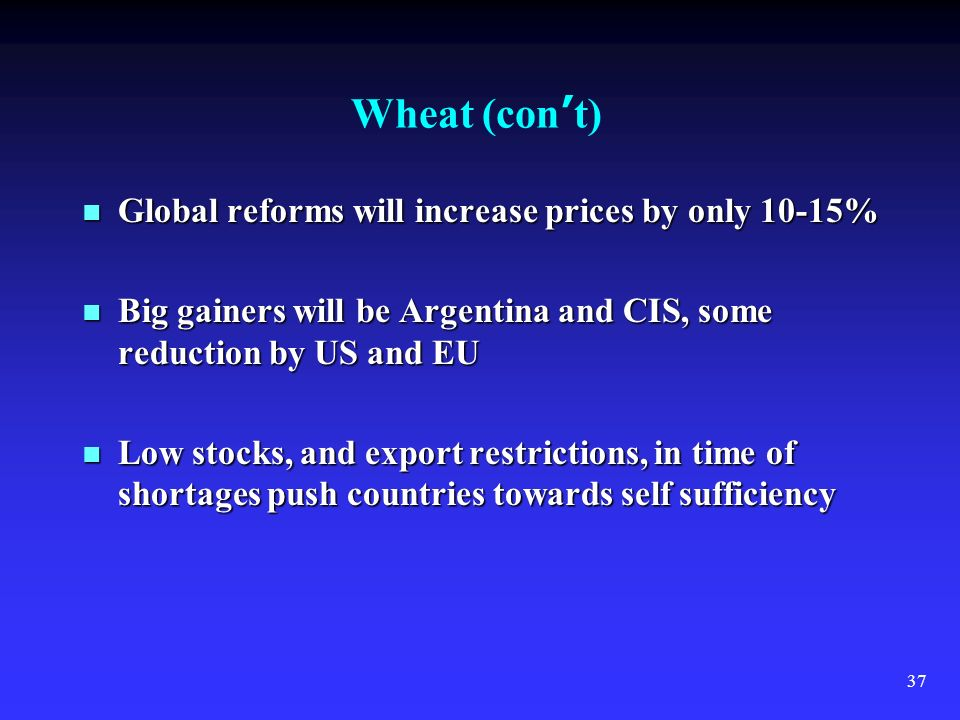 37 Wheat (con t) Global reforms will increase prices by only 10-15% Global reforms will increase prices by only 10-15% Big gainers will be Argentina and CIS, some reduction by US and EU Big gainers will be Argentina and CIS, some reduction by US and EU Low stocks, and export restrictions, in time of shortages push countries towards self sufficiency Low stocks, and export restrictions, in time of shortages push countries towards self sufficiency