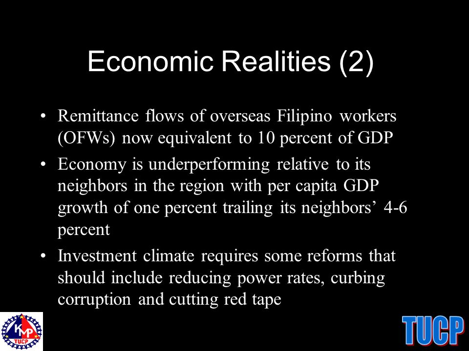 The World Bank Development Report 2005 A 2003 survey involving 719 firms in the Philippines ranked the issues that make the countrys investment climate unattractive to business: 35.2% corruption 33.8% courts on property rights 33.4% unreliable power supply 30.4% high tax rates 29.5% uncertain economic and regulatory policy 26.5% crimes, theft and disorder.