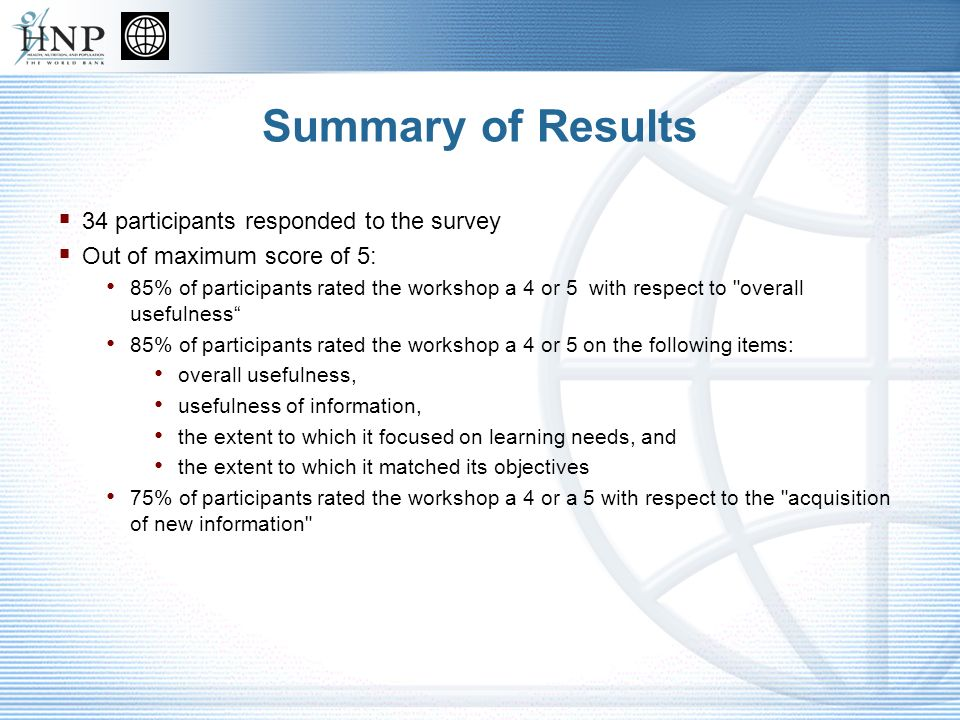 Summary of Results 34 participants responded to the survey Out of maximum score of 5: 85% of participants rated the workshop a 4 or 5 with respect to overall usefulness 85% of participants rated the workshop a 4 or 5 on the following items: overall usefulness, usefulness of information, the extent to which it focused on learning needs, and the extent to which it matched its objectives 75% of participants rated the workshop a 4 or a 5 with respect to the acquisition of new information