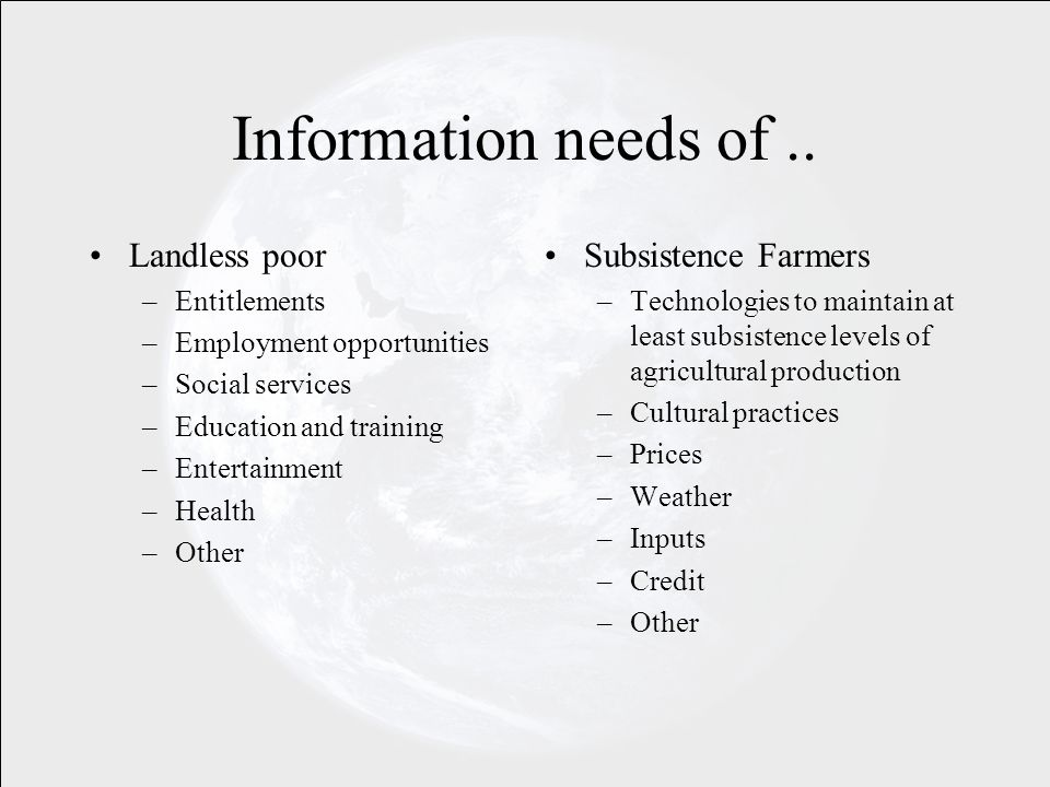 Information needs of..