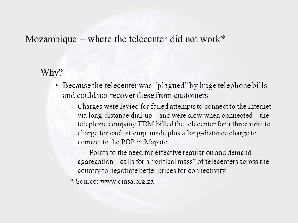 Mozambique – where the telecenter did not work* Why.