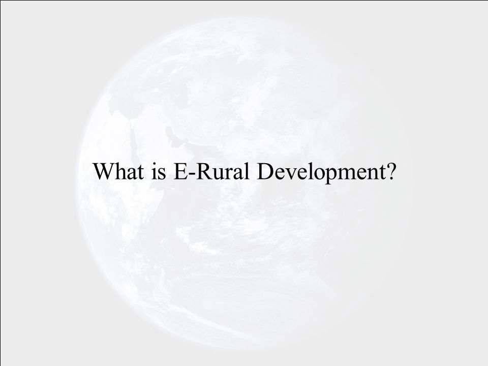 What is E-Rural Development