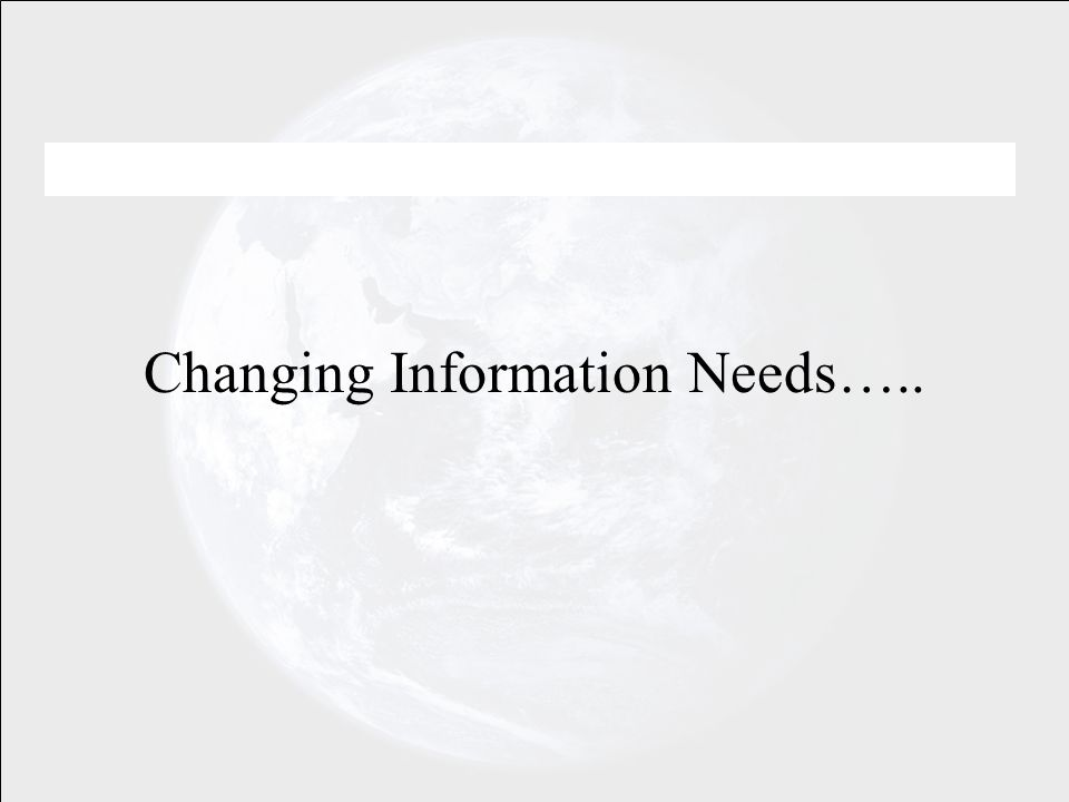 Changing Information Needs…..