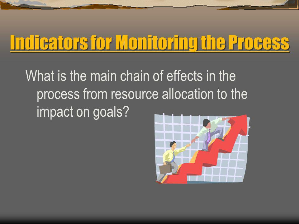 The Process Has Four Main Stages, and Thus Four Types of Indicators to Monitor the Effects 1.