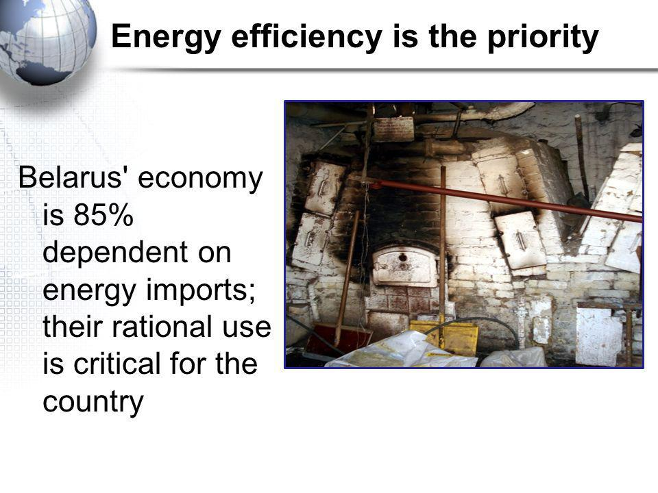 Energy efficiency is the priority Belarus economy is 85% dependent on energy imports; their rational use is critical for the country