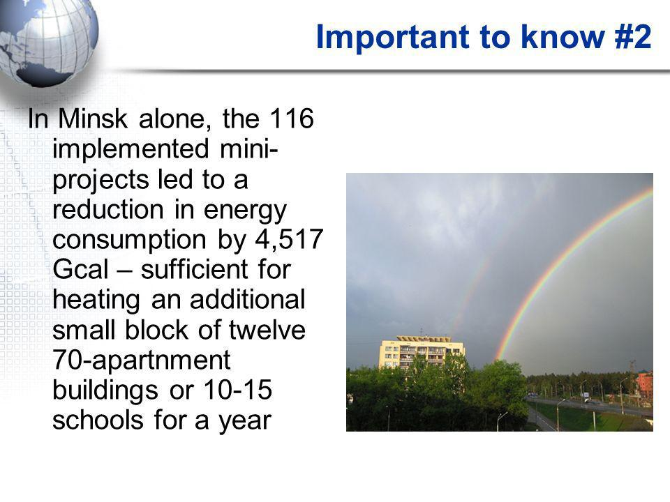 Important to know #2 In Minsk alone, the 116 implemented mini- projects led to a reduction in energy consumption by 4,517 Gcal – sufficient for heatin