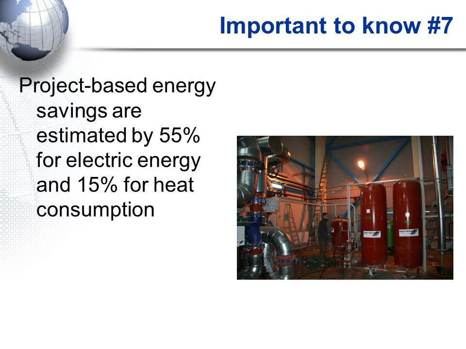 Important to know #7 Project-based energy savings are estimated by 55% for electric energy and 15% for heat consumption
