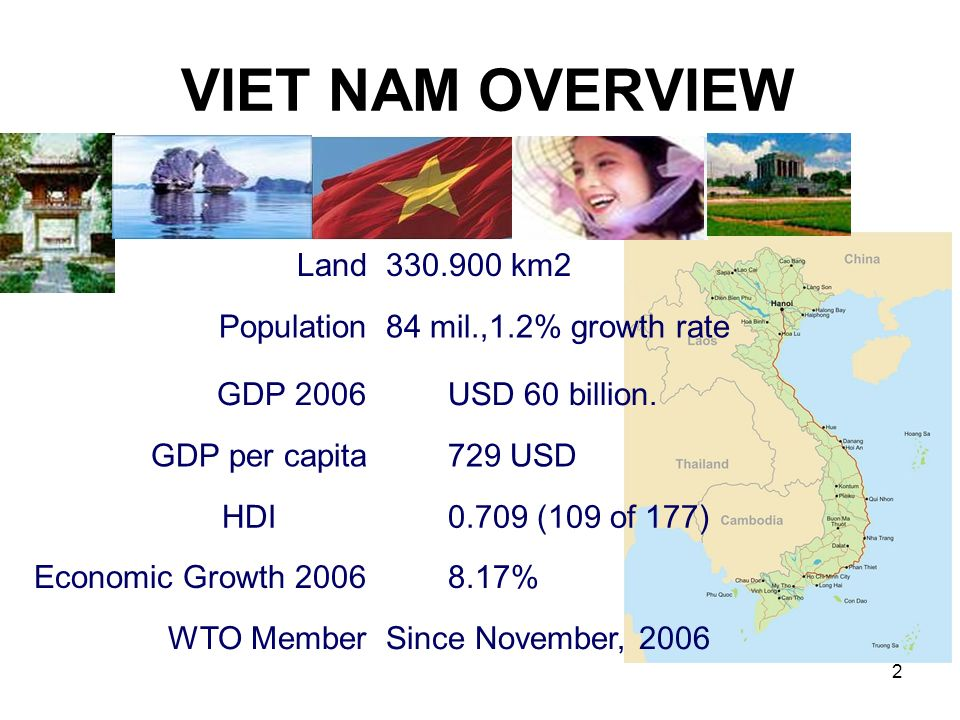 2 VIET NAM OVERVIEW Land330.900 km2 Population84 mil.,1.2% growth rate GDP 2006 USD 60 billion.
