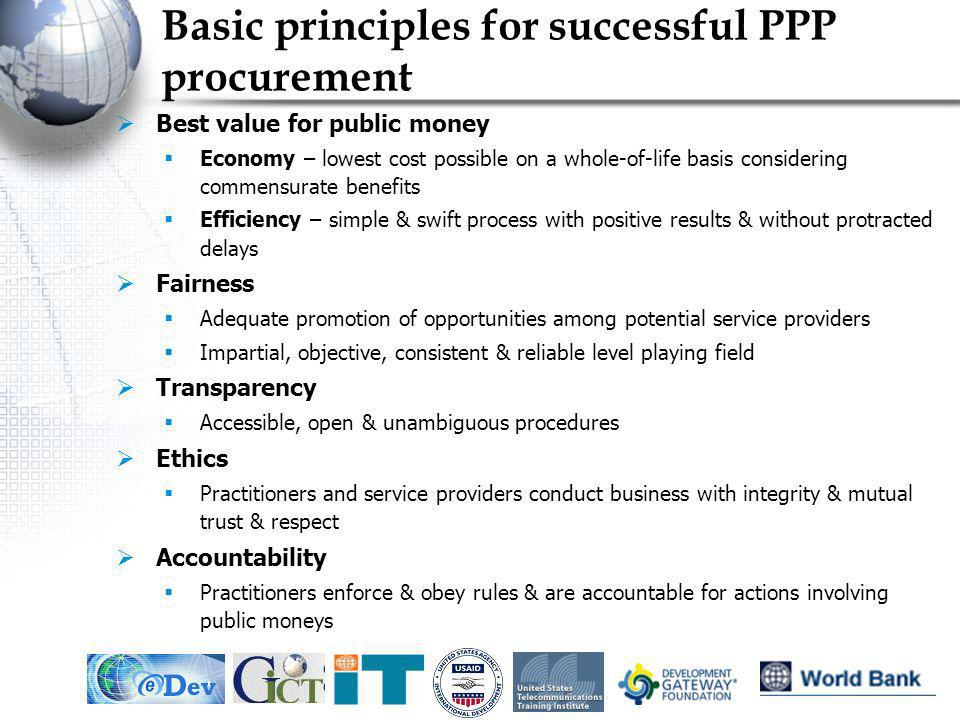 IEF, May 20055 Basic principles for successful PPP procurement Best value for public money Economy – lowest cost possible on a whole-of-life basis con