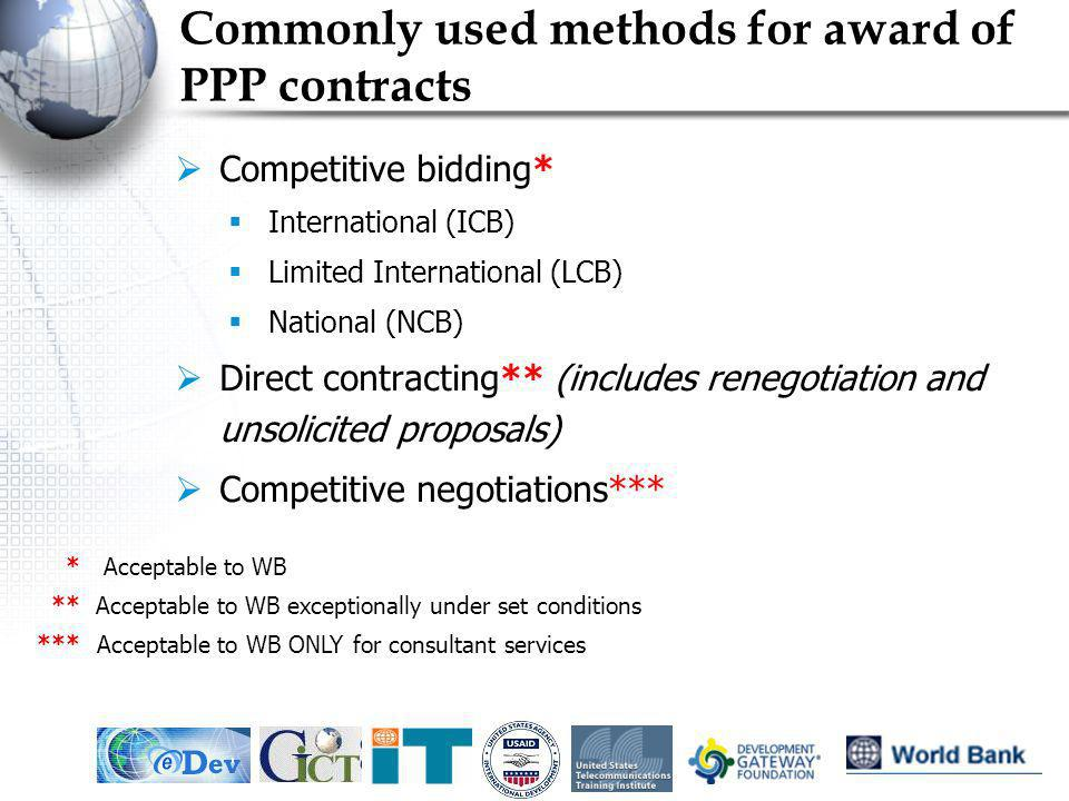 IEF, May 20056 Commonly used methods for award of PPP contracts Competitive bidding* International (ICB) Limited International (LCB) National (NCB) Di
