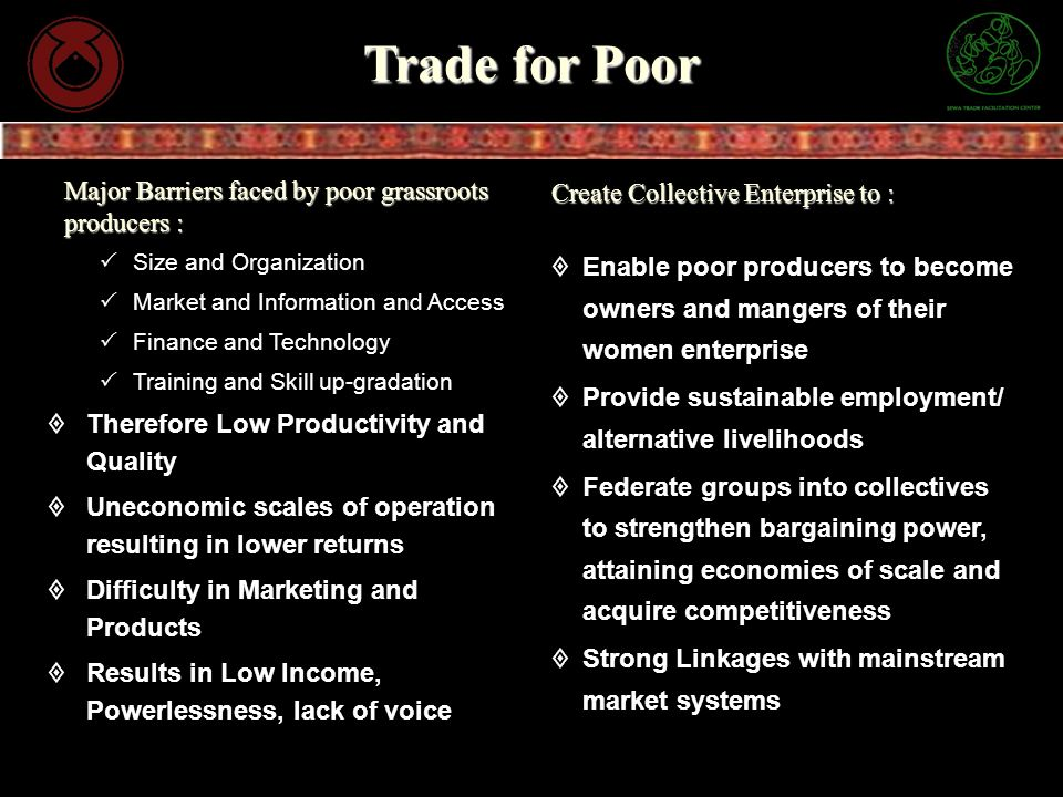 Trade for Poor Size and Organization Market and Information and Access Finance and Technology Training and Skill up-gradation Therefore Low Productivi