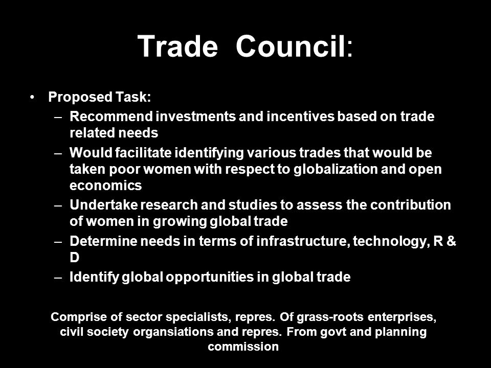 Trade Council: Proposed Task: –Recommend investments and incentives based on trade related needs –Would facilitate identifying various trades that wou