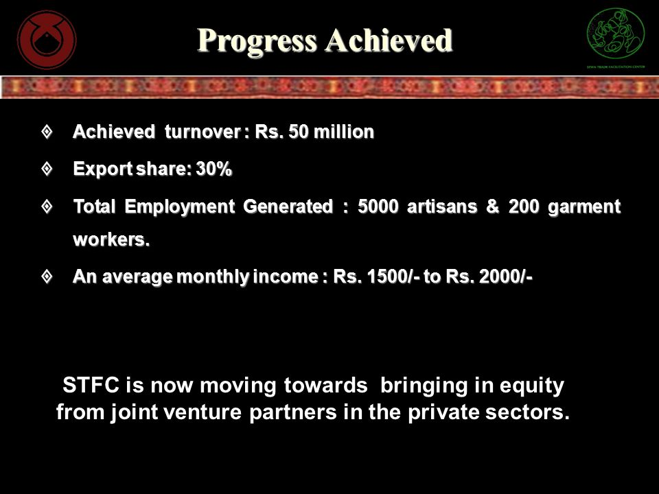 Progress Achieved Achieved turnover : Rs. 50 million Achieved turnover : Rs. 50 million Export share: 30% Export share: 30% Total Employment Generated