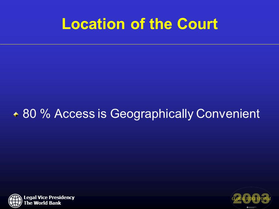 Legal Vice Presidency The World Bank Location of the Court 80 % Access is Geographically Convenient