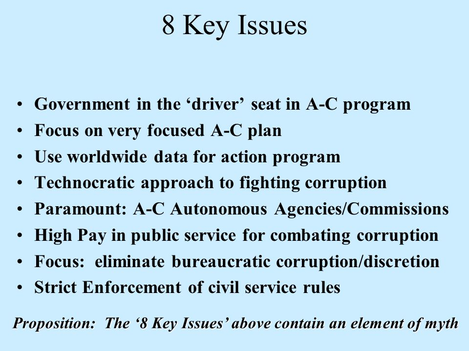 National Governance: Challenges in Integrating Anti- Corruption Into Institutional Change A simple Formula synthesizing Governance/Anticorruption: IG and AC = KI + LE + CA Improving Governance and Anti-Corruption = = Knowledge/Info.Data + …...+ Leadership (incl.