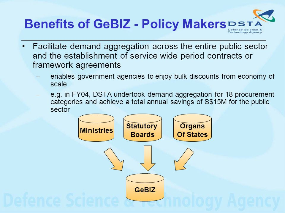 Benefits of GeBIZ - Policy Makers Facilitate demand aggregation across the entire public sector and the establishment of service wide period contracts