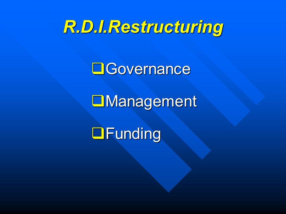 R.D.I.Restructuring Governance Governance Management Management Funding Funding