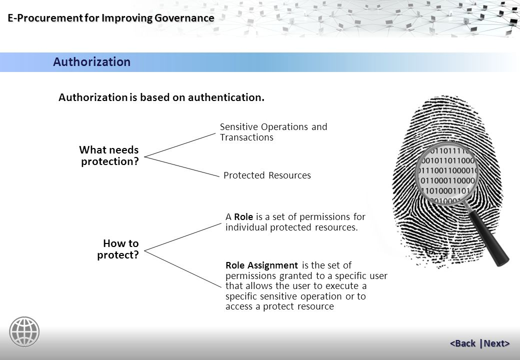 E-Procurement for Improving Governance The precondition for access control is to make sure that the person or program requesting access is identified without doubt.