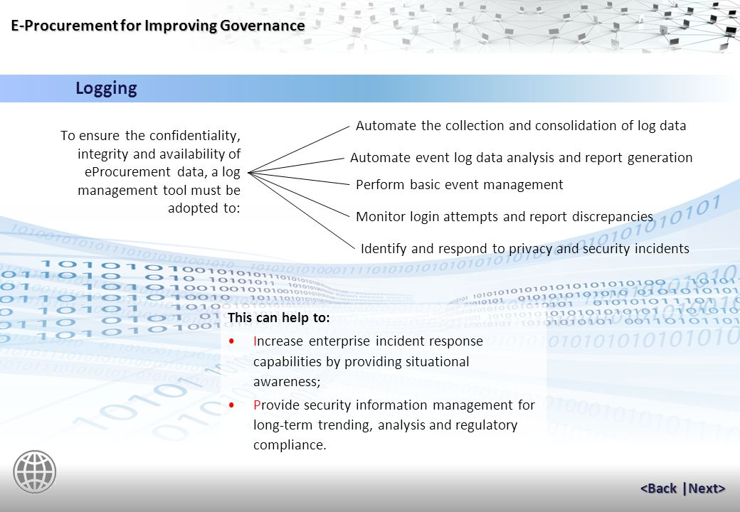 E-Procurement for Improving Governance Transaction Assurance Transaction Authentication uses an electronic signature to provide transaction verification.