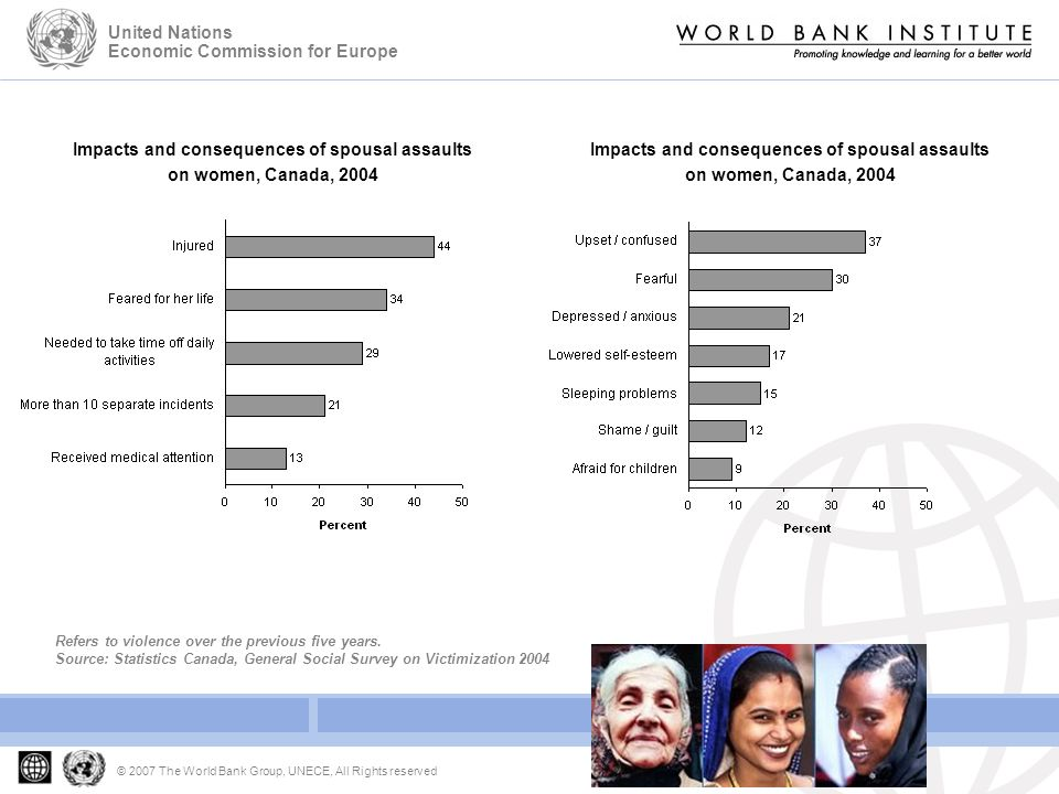 Developing Gender Statistics Gender Based Violence © 2007 The World Bank Group, UNECE, All Rights reserved United Nations Economic Commission for Europe Impacts and consequences of spousal assaults on women, Canada, 2004 Refers to violence over the previous five years.