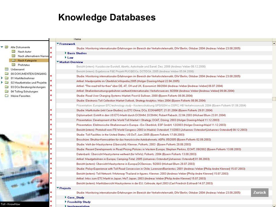 Fürdös / 12.06.2007 / Tolling Technologies TOLLING TECHNOLOGIES Knowledge Databases Zurück