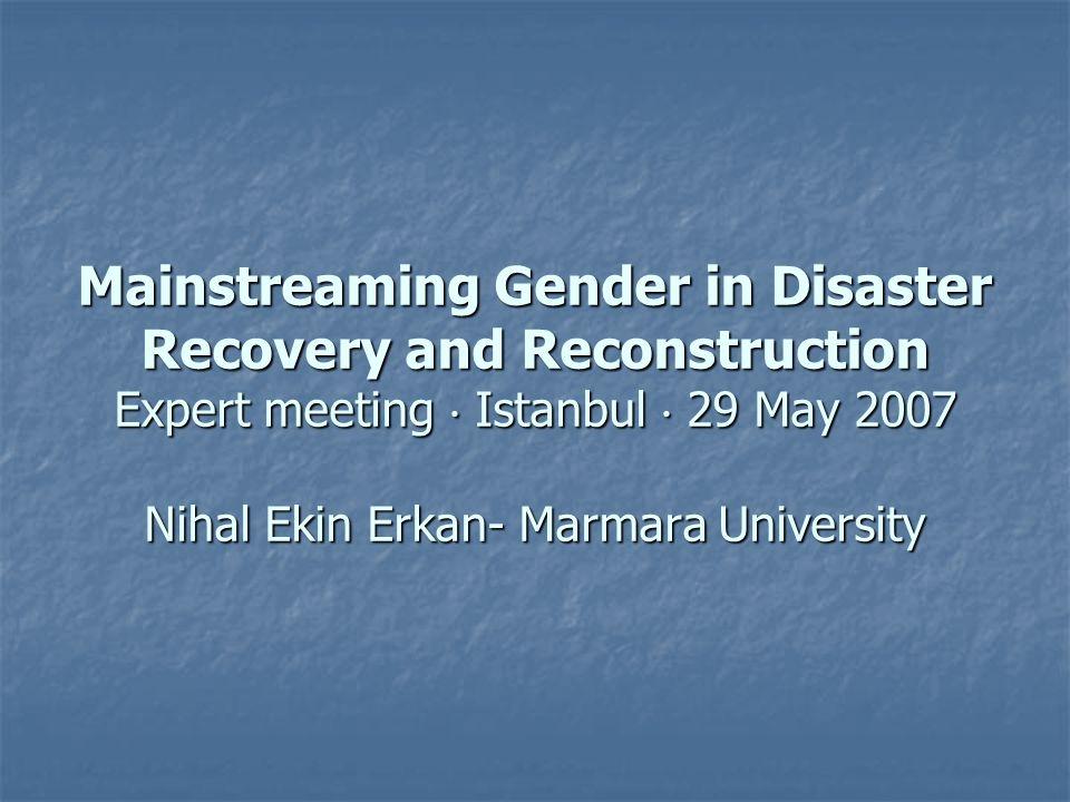Mainstreaming Gender in Disaster Recovery and Reconstruction Expert meeting Istanbul 29 May 2007 Nihal Ekin Erkan- Marmara University