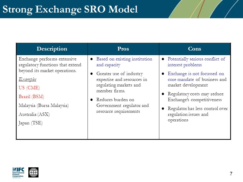 Strong Exchange SRO Model DescriptionProsCons Exchange performs extensive regulatory functions that extend beyond its market operations. Examples US (