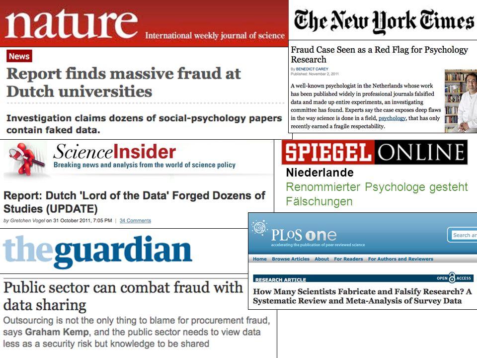 Niederlande Renommierter Psychologe gesteht Fälschungen