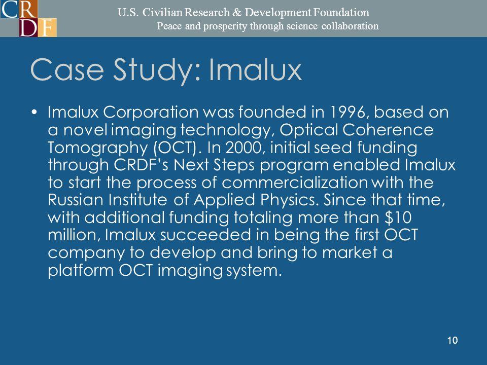 U.S. Civilian Research & Development Foundation Peace and prosperity through science collaboration 10 Case Study: Imalux Imalux Corporation was founde