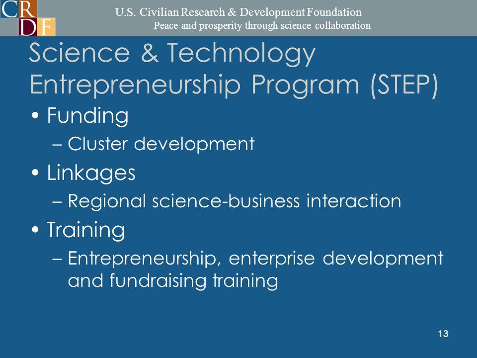 U.S. Civilian Research & Development Foundation Peace and prosperity through science collaboration 13 Science & Technology Entrepreneurship Program (S