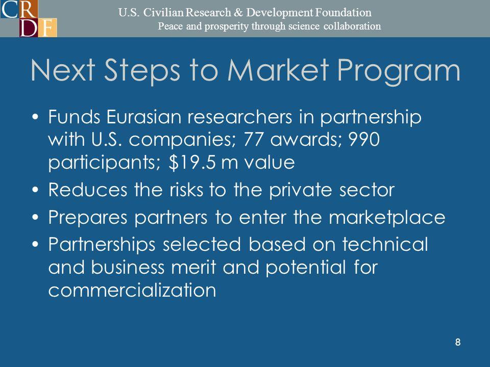 U.S. Civilian Research & Development Foundation Peace and prosperity through science collaboration 8 Next Steps to Market Program Funds Eurasian resea