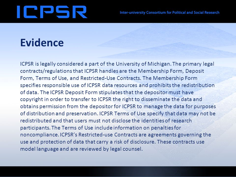 Evidence ICPSR is legally considered a part of the University of Michigan.