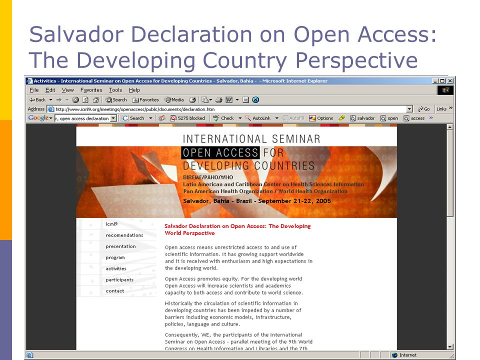 Salvador Declaration on Open Access: The Developing Country Perspective