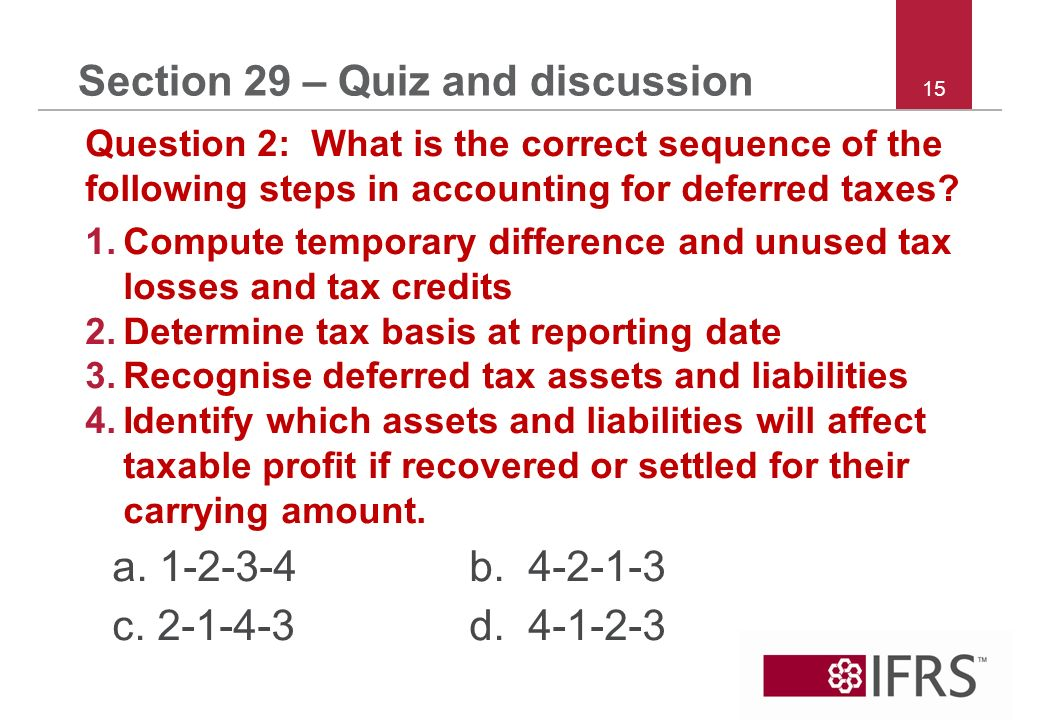 15 Section 29 – Quiz and discussion Question 2: What is the correct sequence of the following steps in accounting for deferred taxes.
