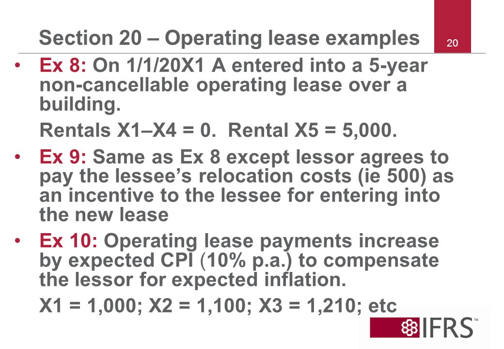 Section 20 – Operating lease examples Ex 8: On 1/1/20X1 A entered into a 5-year non cancellable operating lease over a building.